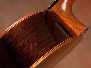Heel detail of Brazilian rosewood classical guitar by John Bogdnaovich