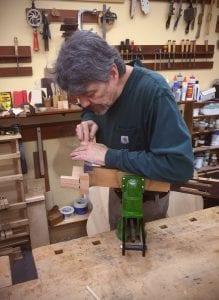Luthier John Bogdanovich carving a heel